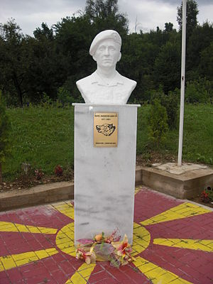 History of the Republic of Macedonia - Monument in Makedonska Kamenica to a Macedonian soldier killed during the insurgency in 2001.