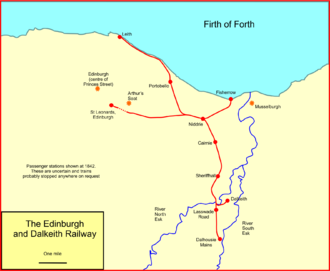 Edinburgh and Dalkeith Railway - System map of the Edinburgh and Dalkeith Railway
