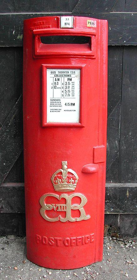 Un raro pillar box Edoardo VIII (Colne Valley Postal History Museum)