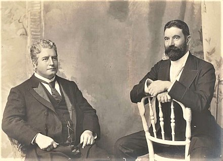 Edmund Barton (left), the first Prime Minister of Australia, with Alfred Deakin, the second Prime Minister EBarton2.jpg