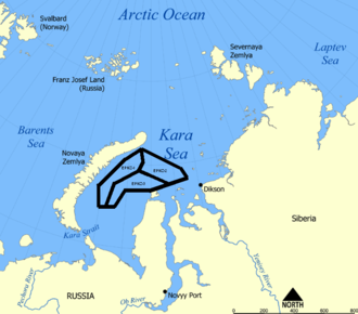 Rosneft - Location of the EPNZ-1, EPNZ-2 and EPNZ-3 oil and gas areas in the Kara Sea