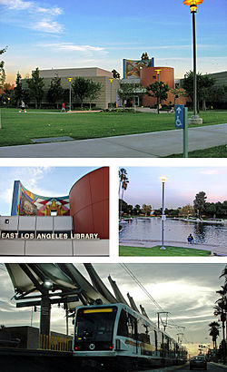 Images, from top and left to right: East LA Public Library, Civic Center Park, Atlantic Gold Line Station