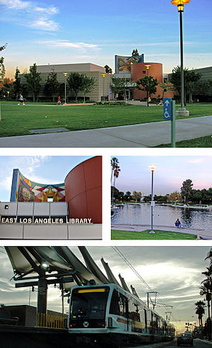East Los Angeles, California - Images, from top and left to right: East LA Public Library, Civic Center Park, Atlantic Gold Line Station