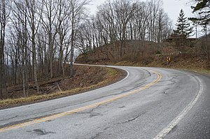 Virginia State Route 598 - Curves approaching the summit of East River Mountain
