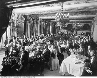 Loyal toast - A dinner hosted by John Craig Eaton at the King Edward Hotel in Toronto in 1919; the Loyal Toast would have been given to King George V