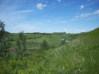 Qu'Appelle River - Echo Creek, rising immediately north of the town of Qu'Appelle and flowing into the Qu'Appelle Valley at Fort Qu'Appelle