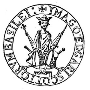 "Edgar, King of Scotland - Seal of King Edgar, styles Edgar Basileus (""sovereign"") of the Scots"