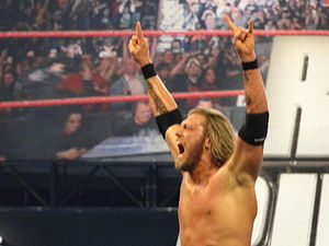 Royal Rumble (2010) - Edge after winning the Royal Rumble match.