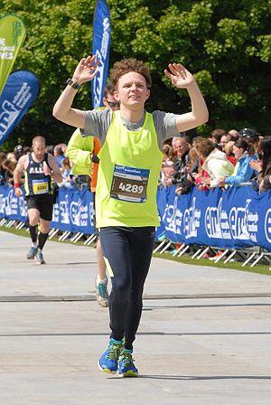 Edinburgh Marathon - A runner crosses the finish line at the Edinburgh Marathon.