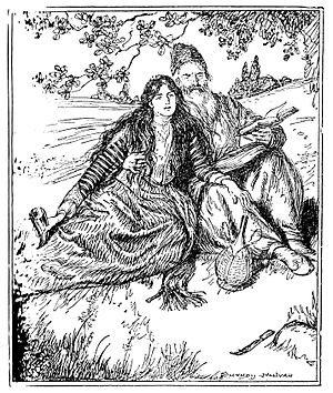 Rubaiyat of Omar Khayyam - Illustration by Edmund Joseph Sullivan for Quatrain 11 of Fitzgerald's First Version.