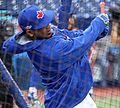 Edwin Encarnacion takes batting practice before the AL Wild Card Game. (29523827914).jpg