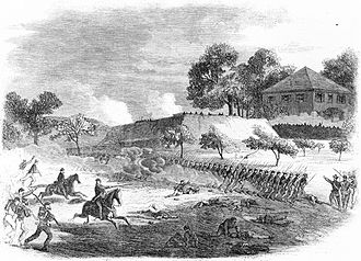 Second Battle of Petersburg - The war in Virginia – the 18th Army Corps storming a fort on the right of the Rebel line before Petersburg, June 15, sketch by Edwin Forbes