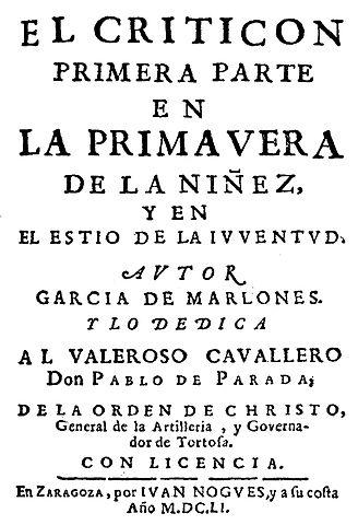 Обложка первого издания «Критикона» (El Criticón) (1651).