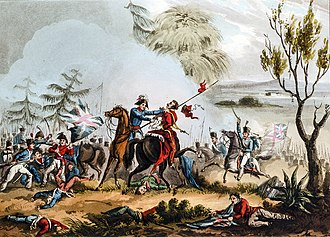 Battle of Albuera - Marshal Beresford disarming a Polish lancer at the Battle of Albuera. Print by T. Sutherland, 1831.