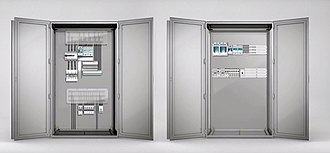 Electrical busbar system - Image: Electrical cabinet comparision with and without busbar