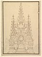 Elevation of a Catafalque, Three Obelisks with Fluer-de-lys and Candles, Dated on Plaque at Bottom 1733. MET DP820193.jpg