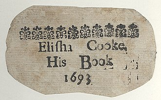 "English possessive - A bookplate of 1693, using ""his"""