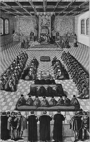 Succession to the British throne - Queen Elizabeth I enthroned in Parliament