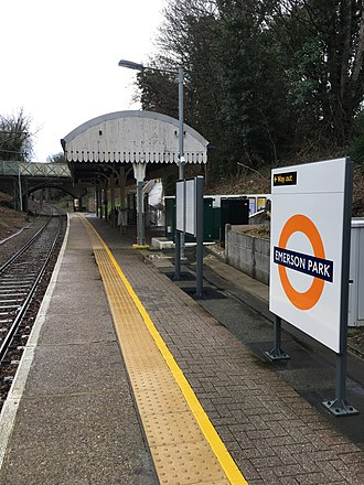 Emerson Park railway station - The platform in 2018 with London Overground signage