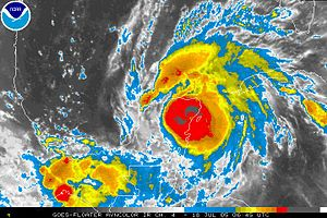 Hurricane Emily (2005) - Hurricane Emily making landfall on July 18, 2005