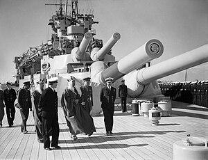 Mansour bin Abdulaziz Al Saud - Image: Emir Mansur of Saudi Arabia visiting HMS Queen Elizabeth at Alexandria WWII IWM A 9618