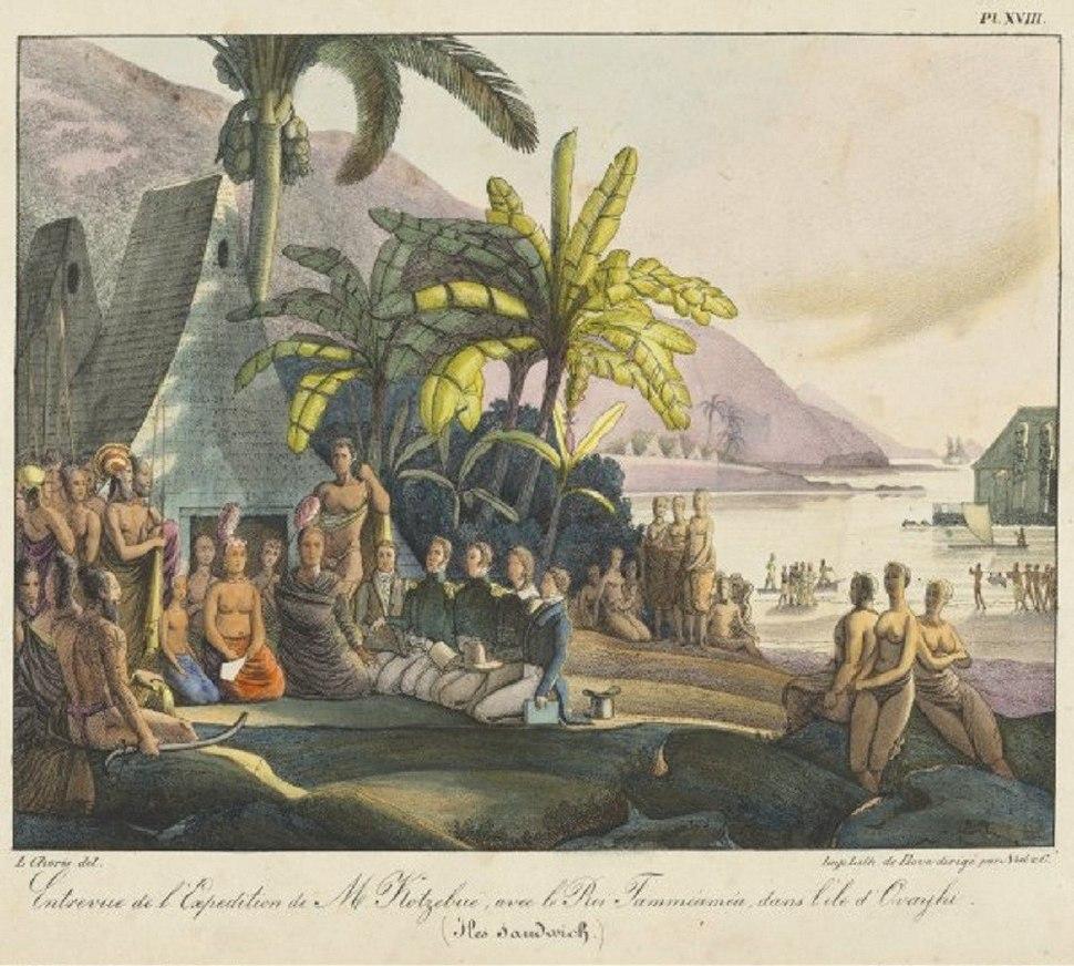 Entrevue de l'expedition de M. Kotzebue avec le roi Tammeamea dans l'ile d'Ovayhi, Iles Sandwich