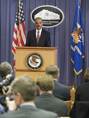 English: Eric Holder speaking at a press confe...