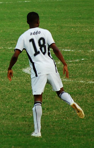 Eric Addo - Addo warms up at the African Cup of Nations 2008.