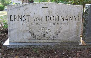 Ernő Dohnányi - Dohnányi's gravesite at Roselawn Cemetery, Tallahassee, Florida, USA