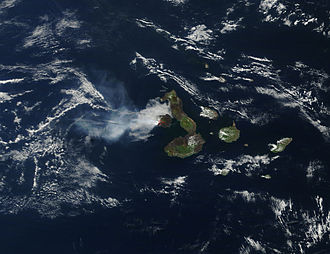 Fernandina Island - Fernandina Island during the April 2009 eruption as seen from space. Isla Isabela can also be seen to the east (right).
