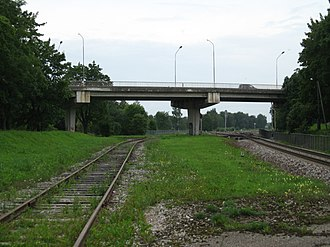 Estonian national road 3 - Image: Estonia, Jõhvi, bridge through the railway