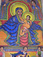 Ethiopia-Axum Cathedral-fresco-Black Madonna