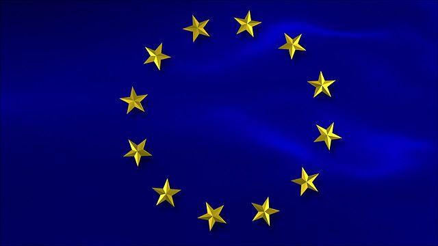 The flag of the European Union (E.U.).