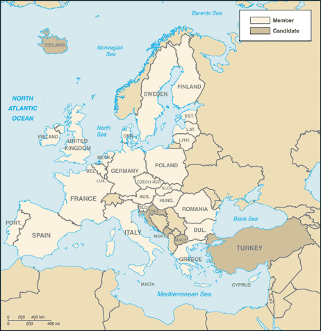 European Union-CIA WFB Map
