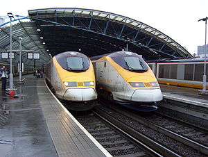 British Rail Class 373 - A pair of Class 373s in the standard Eurostar livery at the former Waterloo International