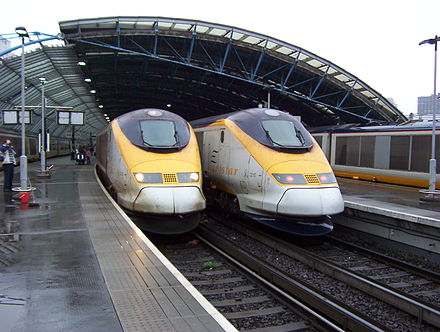 A pair of Eurostar trains at the former Waterloo International since moved to St Pancras International railway station. Eurostars at waterloo international.jpg