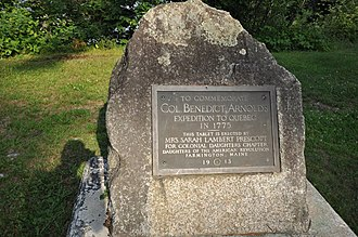 Benedict Arnold's expedition to Quebec - Commemorative marker in Eustis, Maine