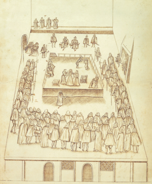 George Talbot, 6th Earl of Shrewsbury - The execution of Mary, Queen of Scots at Fotheringhay Castle on 8 February 1587, drawn by Robert Beale, Clerk of the Privy Council, an eyewitness. The official witnesses, George Talbot, 6th Earl of Shrewsbury and Henry Grey, 6th Earl of Kent are seated on the scaffold at left, identified as numbers 1 and 2. Sir Amias Paulet, Mary's gaoler, is identified as 3, top, seated left below dais