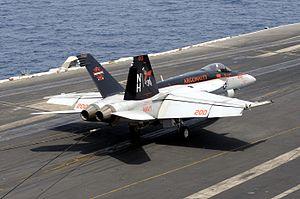 VFA-147 - Image: F 18E of VFA 147 lands on USS Nimitz (CVN 68) in 2013