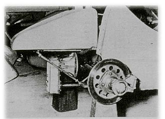 Bandini Formula Three - Rear view, highlighting disc brakes and differential.