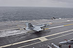 FA-18E of VFA-105 landing on USS Dwight D. Eisenhower (CVN-69) in November 2015.JPG