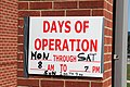 FEMA - 42163 - Hours-days of operation sign at the Disaster Recovery Center.jpg