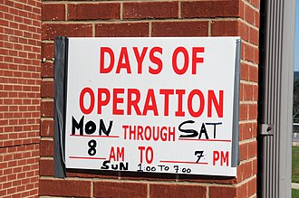 Schedule - Hours of operation posted at a FEMA office following a disaster inform the public of when FEMA employees will be available to assist them.