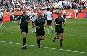 Kirsi Heikkinen - Heikkinen (centre) at the 2011 FIFA Women's World Cup in Germany.