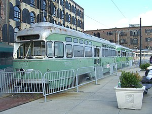 Brooklyn–Queens Connector - View of a Brooklyn Historic Railway Association streetcar that was to be placed on a proposed, but never used, streetcar line