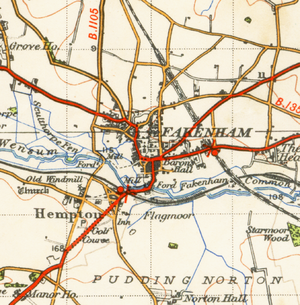 Fakenham - A map of Fakenham from 1946