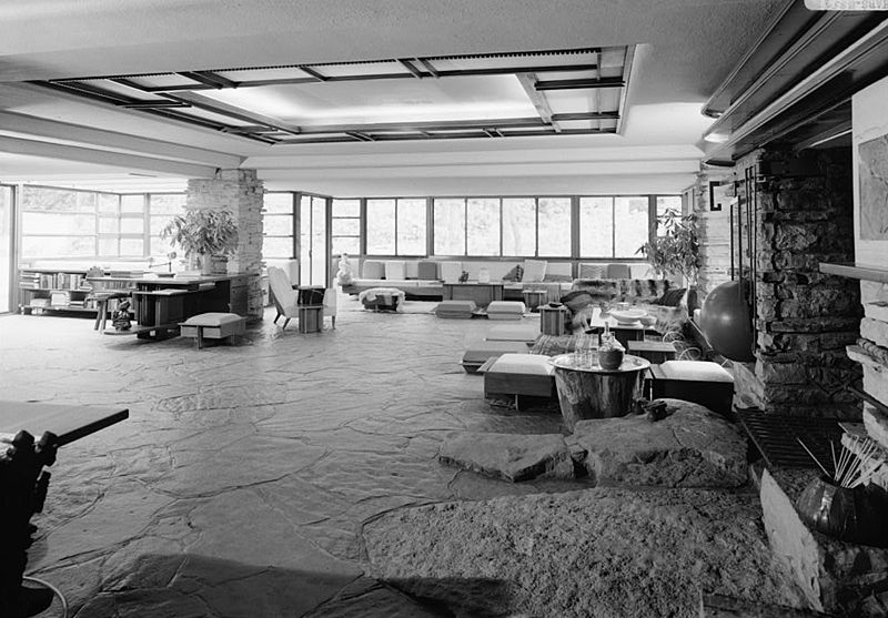 File:Fallingwater - Living Room from Kitchen - HABS PA,26-OHPY.V,1-48.jpg