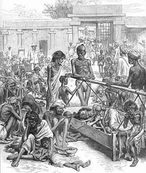 Famine - People waiting for famine relief in Bangalore From the Illustrated London News, 1877