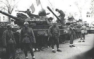 Ethnic clashes of Târgu Mureș - Romanian troops on the streets of Târgu Mureș