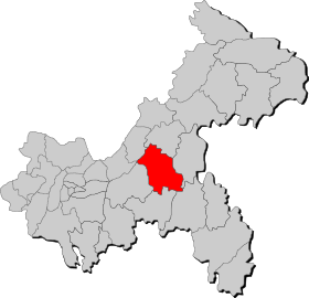 The location of Fengdu in Chongqing